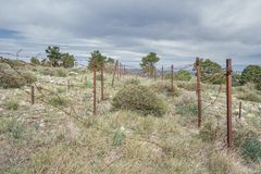 Abandoned military zone with rusty spiked fence Royalty Free Stock Images