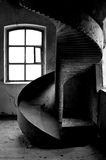Abandoned mill with slide. Slide for sacks of flour in a mill Royalty Free Stock Photography