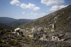 Abandoned mine buildings Stock Photo