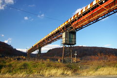 Abandoned Mine Conveyor. This is a conveyor that once was used to remove debris from a coal processing plant, known as a breaker, in Eastern Pennsylvania stock images