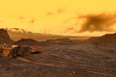 Abandoned mine - damaged landscape after ore mining stock images