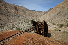 Abandoned mine in Death Valley, USA. Rusty remains: In the 19th century miners followed the lures of gold into Death Valley Stock Photos