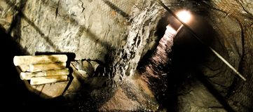 Abandoned mine with equipment stock images