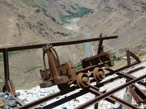 An abandoned mine in the mountains. The trolley of the abandoned mine in the Mountainous Badakhshan region of Tajikistan Royalty Free Stock Images