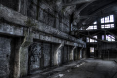 Abandoned mine pit trollay repair station. France Stock Photography