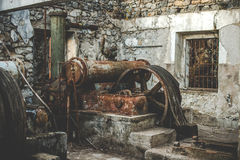 Abandoned mine rusty external equipment and buildings Royalty Free Stock Photography