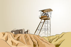 Abandoned mine - Vector illustration. Abandoned mine with tower and ruins - Vector illustration Stock Photo