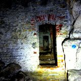 Abandoned mine. Wall in abandoned mine stock photos