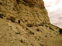 Abandoned Mines near Salina, Utah. These two mine entrances, located around eight miles from Salina, Utah, were likely used during the silver and gold mining royalty free stock photo