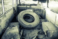 Abandoned minibus Stock Photo
