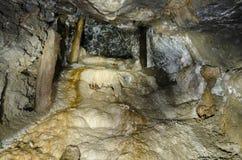 Abandoned mining adit with aragonite coatings Stock Image