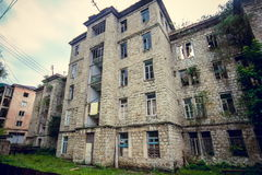 Abandoned mining ghost-town Jantuha, Abkhazia. Destroyed empty houses Royalty Free Stock Photos