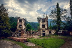 Abandoned mining ghost-town Jantuha, Abkhazia. Destroyed empty houses Stock Photos