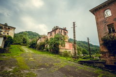 Abandoned mining ghost-town Jantuha, Abkhazia. Destroyed empty houses Royalty Free Stock Image