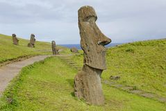 Abandoned moai Stock Photo