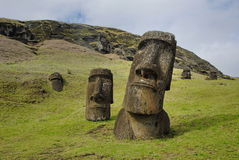 Abandoned moai Stock Images