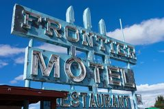 Abandoned motel in Truxton, Arizona. November 10, 2015 Truxton, Arizona, USA: abandoned Frontier Motel, Cafe and vintage neon sign on historic Route 66 in Mohave Stock Photo