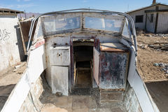 Abandoned motorboat in California. Abandoned motorboat by the Salton sea California royalty free stock image