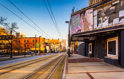 Abandoned movie theater and railroad tracks along Paca Street in Royalty Free Stock Image