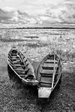 Abandoned native Thai style wood boat Royalty Free Stock Images