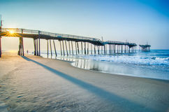 Abandoned North Carolina Fishing Pier Outerbanks OBX Cape Hatter Royalty Free Stock Images