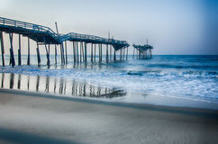 Abandoned North Carolina Fishing Pier Outerbanks OBX Cape Hatter Stock Photo