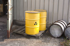 Abandoned nuclear waste. Radioactive waste stored in barrels Stock Photography