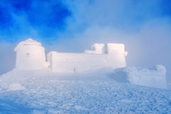 Abandoned observatory, fog, winter Royalty Free Stock Images