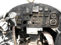 Abandoned old army plane dashboard Stock Photo