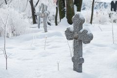 Abandoned old believer cemetery. In the snow royalty free stock images