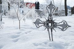 Abandoned old believer cemetery. In the snow royalty free stock image
