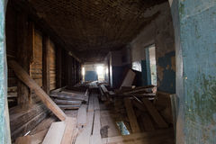 Abandoned old building - the corridor of the haunted house Stock Images