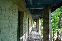 Abandoned old buildings of recreation centers. Are in a deep forest royalty free stock photo