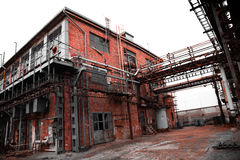 Abandoned old chemical factory building Stock Photos