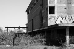 Abandoned construction site. Abandoned old construction site monochrome stock photography