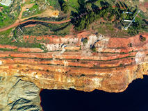Abandoned Old Copper Extraction Sao Domingos Mine. Portugal, aerial view stock photo