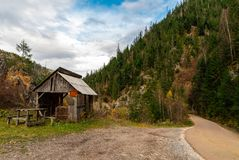 Abandoned old cottage in the mountains royalty free stock photo