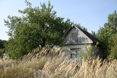 An abandoned old house in a field with boarded up windows. An abandoned old, dilapidated house in a field with boarded up windows Stock Image