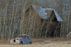 Abandoned old farmhouse and old car Royalty Free Stock Images