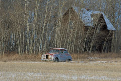 Abandoned old farmhouse and old car Royalty Free Stock Photography