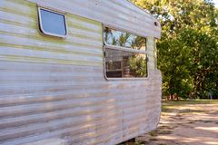 a8a61e2d7e0874 Vintage Old Caravan Grunge Exterior. Abandoned Old Fashioned Vintage  Caravan royalty free stock images