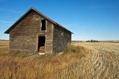 Abandoned old  granaries in fall Stock Image