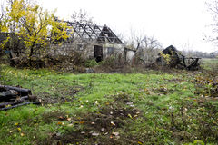 Abandoned old house and barn Royalty Free Stock Image