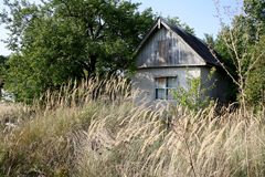 Abandoned old house in the field. Abandoned old house in a field with trees in the background Stock Images