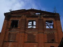 Abandoned Old Industrial Factory Brick Building Royalty Free Stock Photos