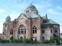 Abandoned old Jewish synagogue. Destroyed monumental Jewish synagogue in Slovakia Stock Photos