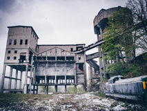 Abandoned old mine in the post industrial city of Anina, Romania. Winter time (snowing royalty free stock photos
