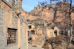 Abandoned old mountain village buildings,Shanxi, China. Abandoned old mountain village buildings under the Loess Plateau, the old village site in Linfen, Shanxi Stock Photos