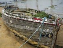 Abandoned old rowing boat wreak Stock Photos