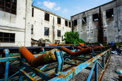 Abandoned Old Ruined Industrial Plant Stock Photo